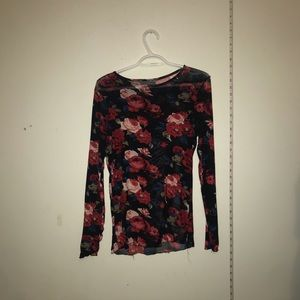 Sheer mesh floral Long sleeve top